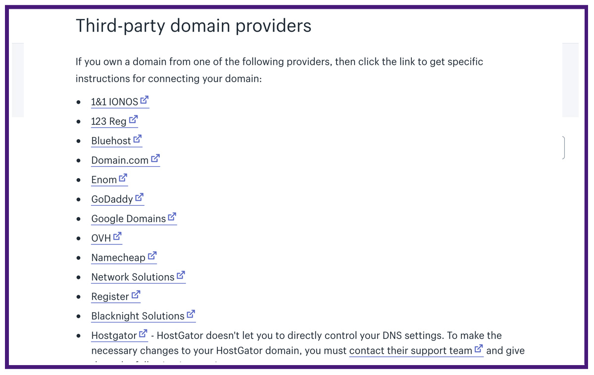 third party domain providers