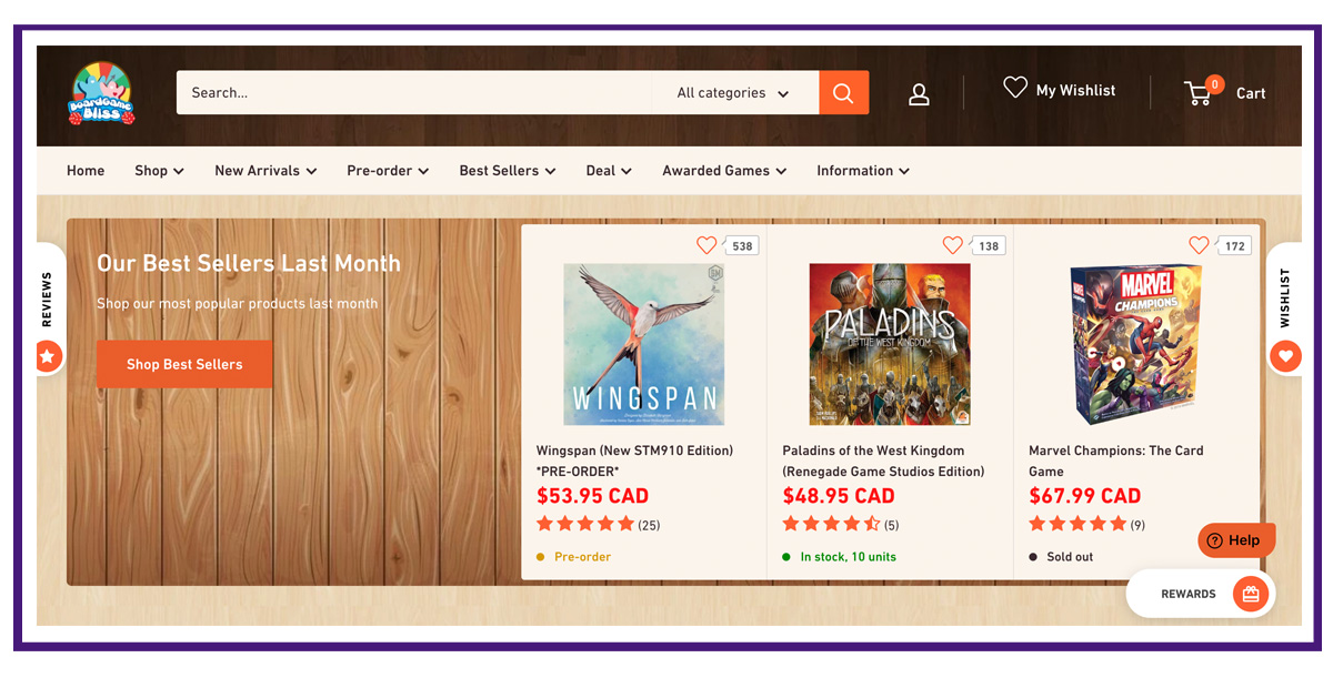 ecommerce business example - board games