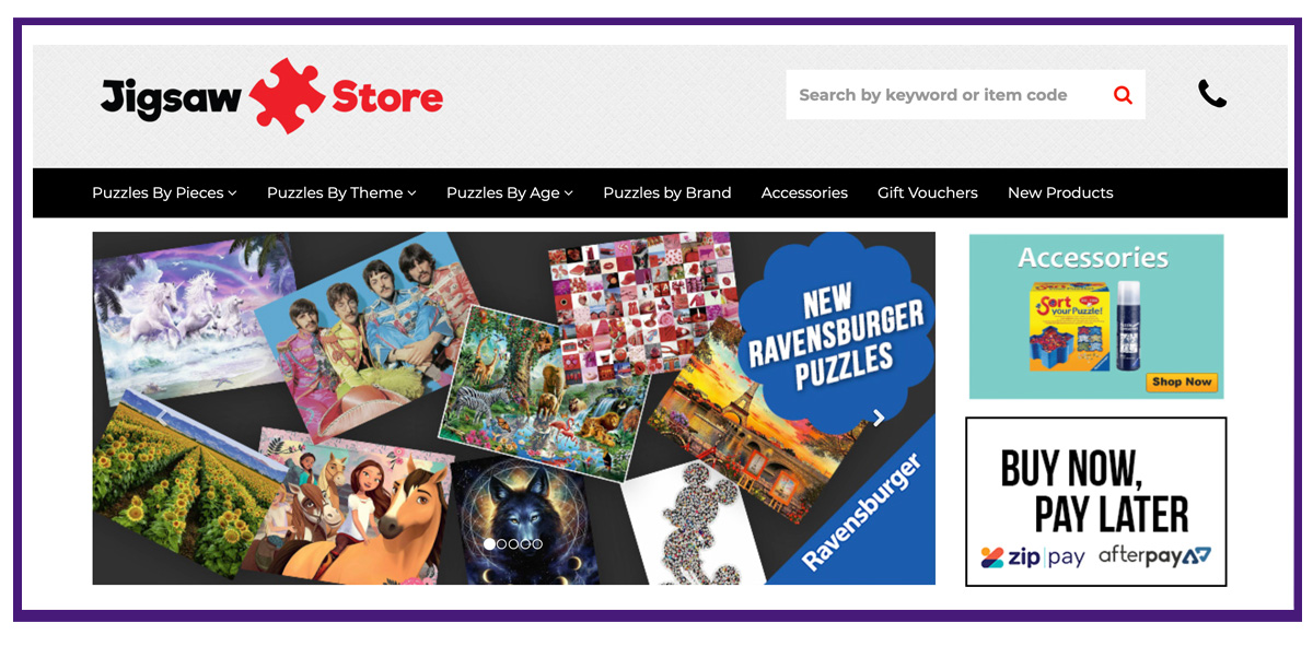 ecommerce business example - jigsaw store