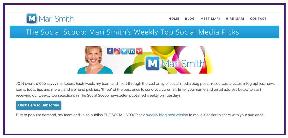 Mari Smith email list building lead magnet