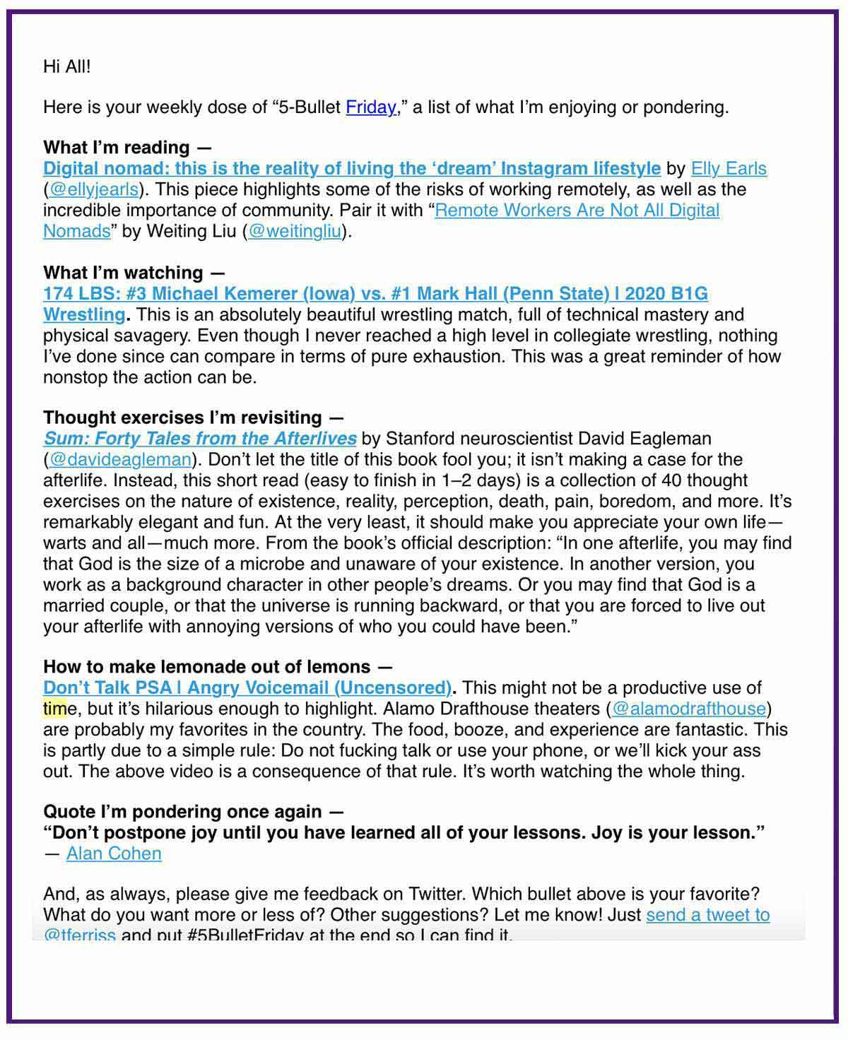 tim ferris email example