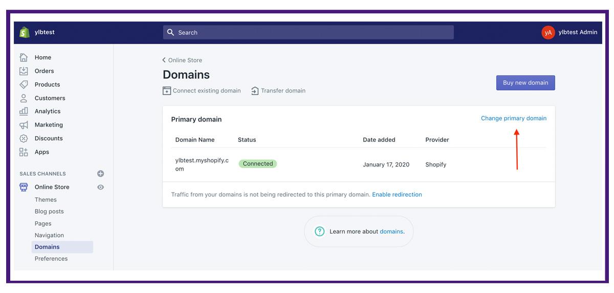 shopify settings - domains5