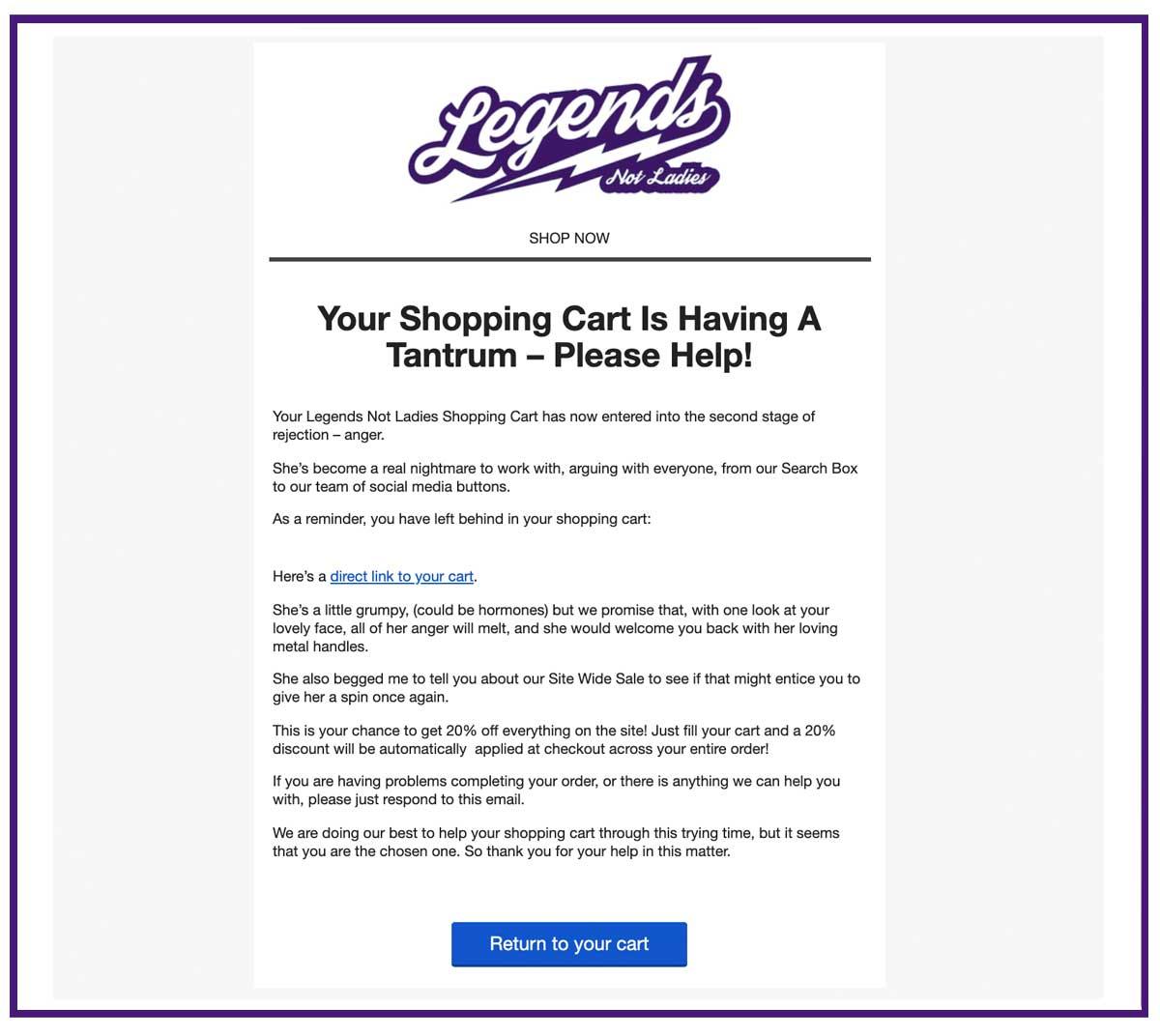 ecommerce abandoned cart email 2