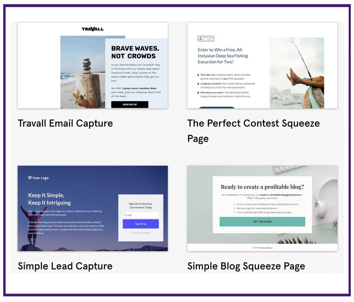 Leadpages landing page templates