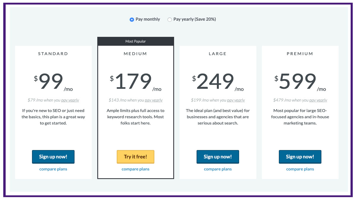 moz pricing table