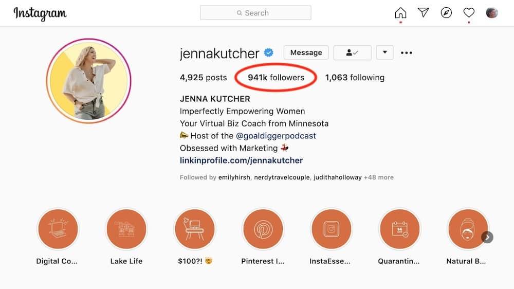 jenna kutcher instagram example