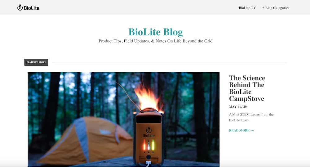 blog content marketing example - biolite