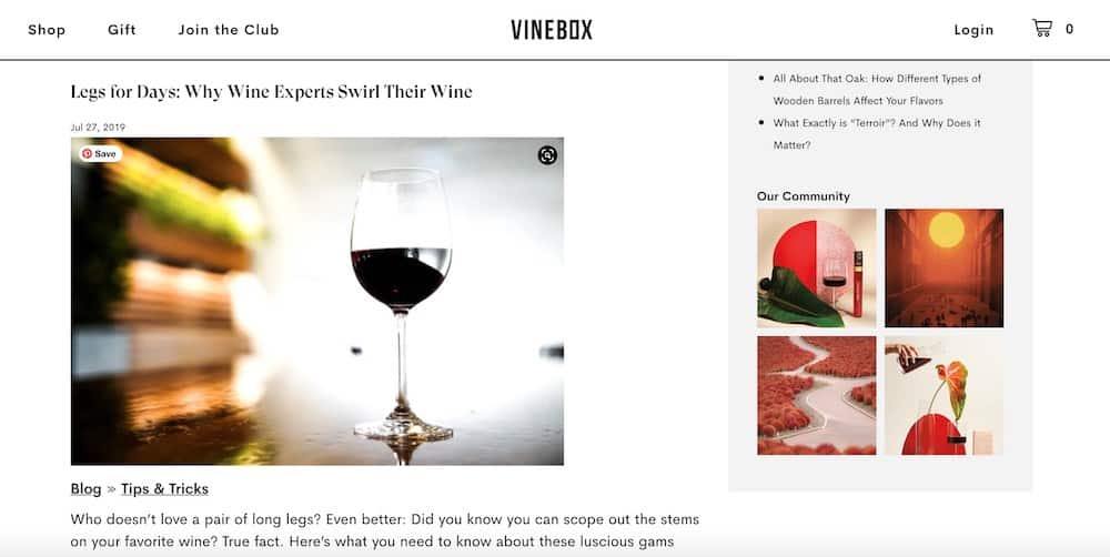 blog content marketing example - vinebox