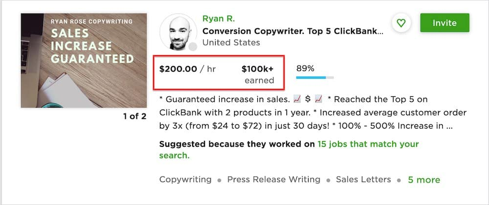 copywriter freelance Upwork profile