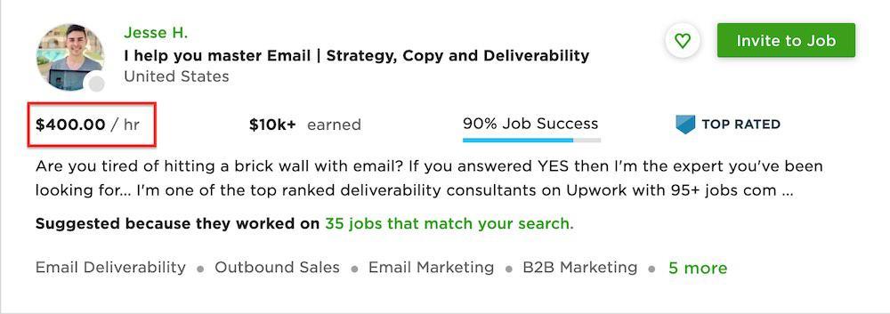 content marketing freelancer Upwork profile