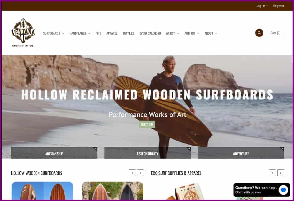 Ventana - wooden surfboards Ecommerce shop