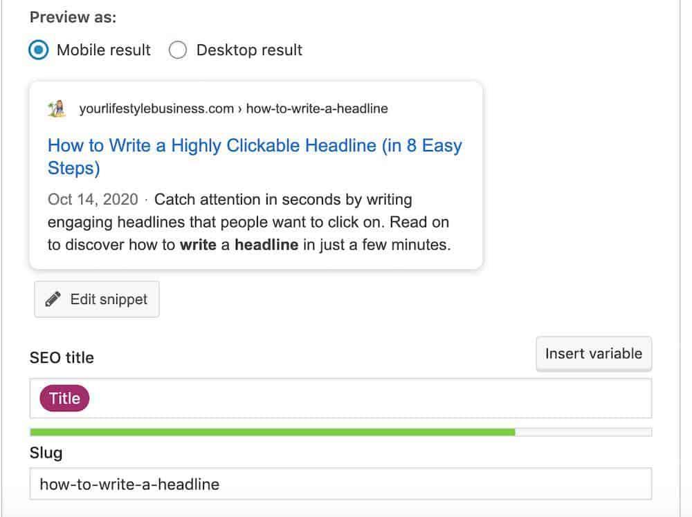 how to write a headline - yoast plugin